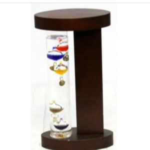 Dark Wood surrounds Galileo Thermometer with 5 flo